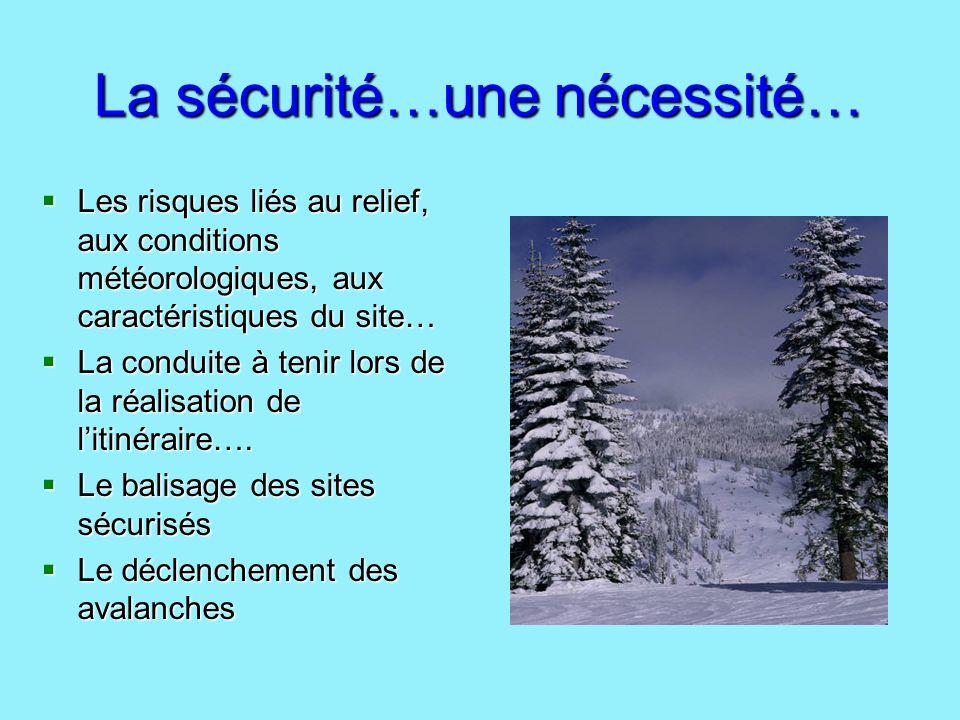 La sécurité…une nécessité… Les risques liés au relief, aux conditions météorologiques, aux caractéristiques du site… Les risques liés au relief, aux c