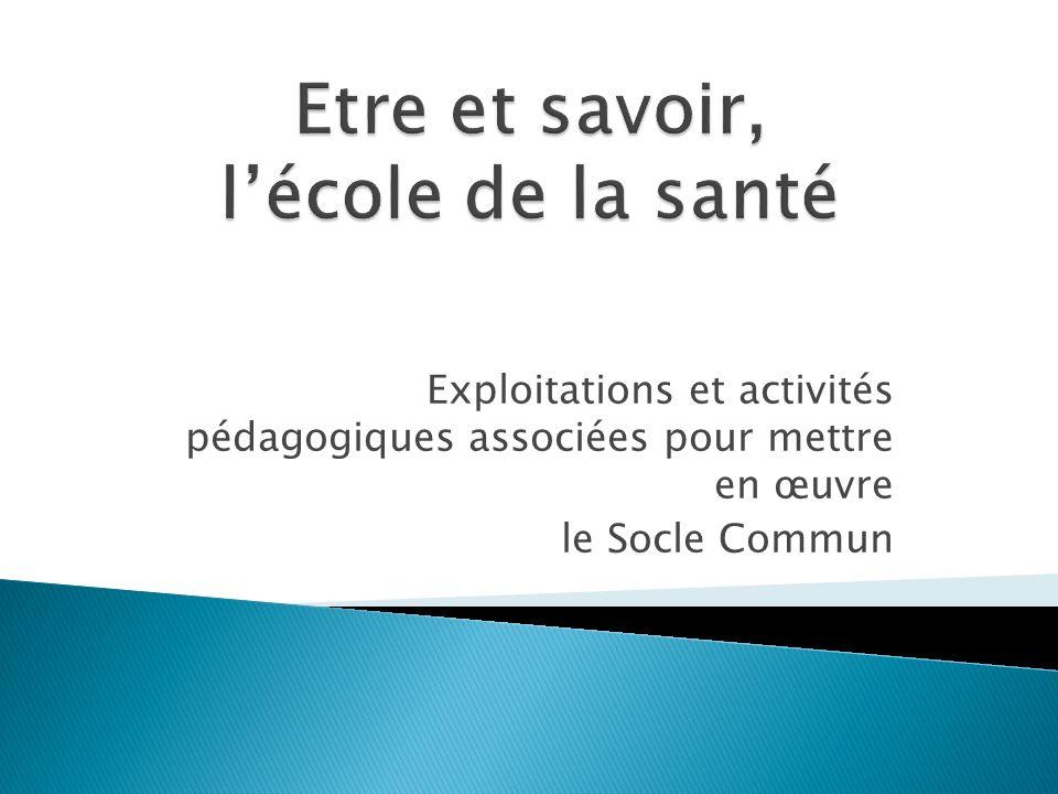 Exploitations et activités pédagogiques associées pour mettre en œuvre le Socle Commun