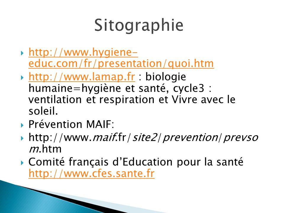 http://www.hygiene- educ.com/fr/presentation/quoi.htm http://www.hygiene- educ.com/fr/presentation/quoi.htm http://www.lamap.fr : biologie humaine=hyg