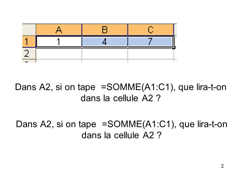 2 Dans A2, si on tape =SOMME(A1:C1), que lira-t-on dans la cellule A2 ?