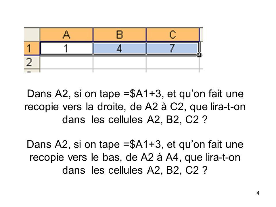 5 Dans A2, si on tape =A$1+3, et quon fait une recopie vers la droite, de A2 à C2, que lira-t-on dans les cellules A2, B2, C2 .