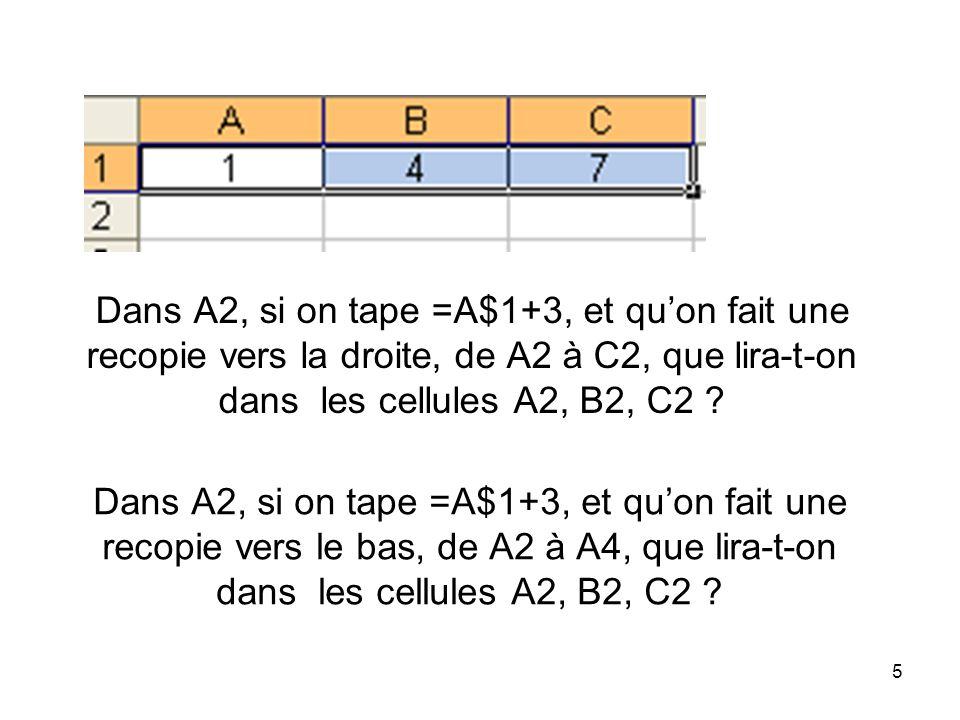 6 Si on tape dans A2, =A1 et dans B2, =B1+A2, et quon fait une recopie vers la droite, de B2 à C2, que lira-t-on dans la cellule C2 ?