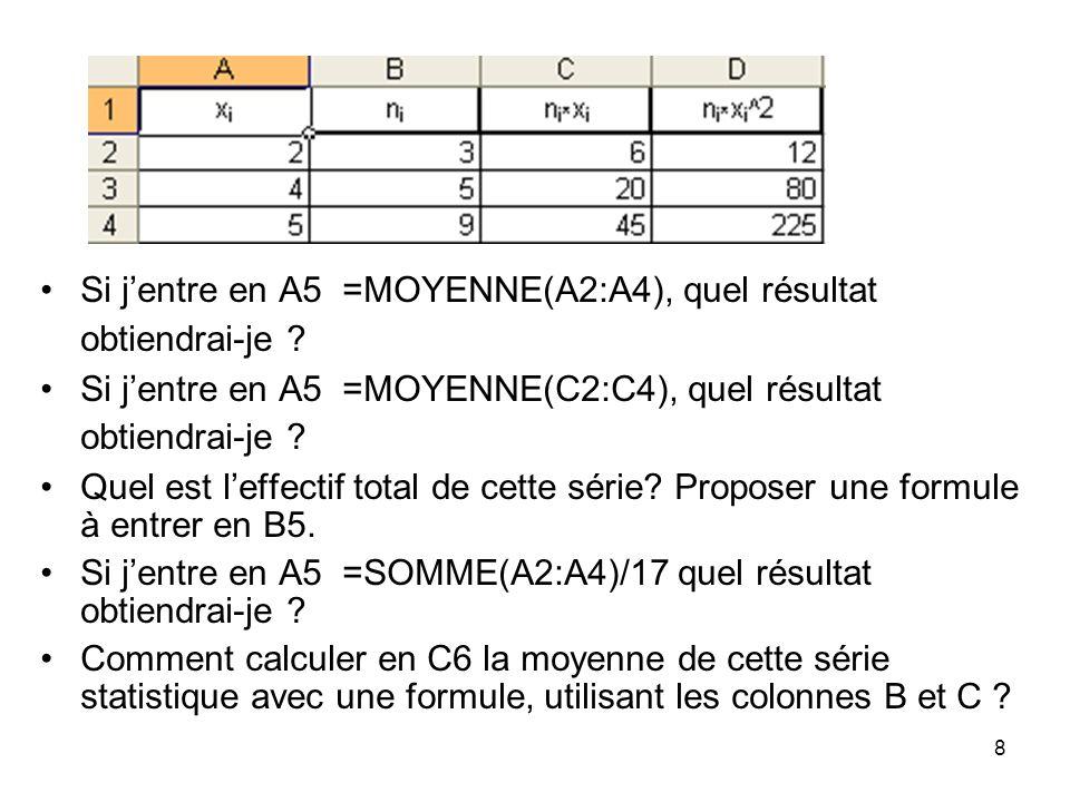 9 En D7, proposez une formule qui permette de calculer la variance de cette série statistique à laide de cellules déjà remplies.