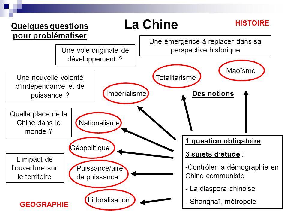 1 question obligatoire 3 sujets détude : -Contrôler la démographie en Chine communiste - La diaspora chinoise - Shanghaï, métropole Quelques questions