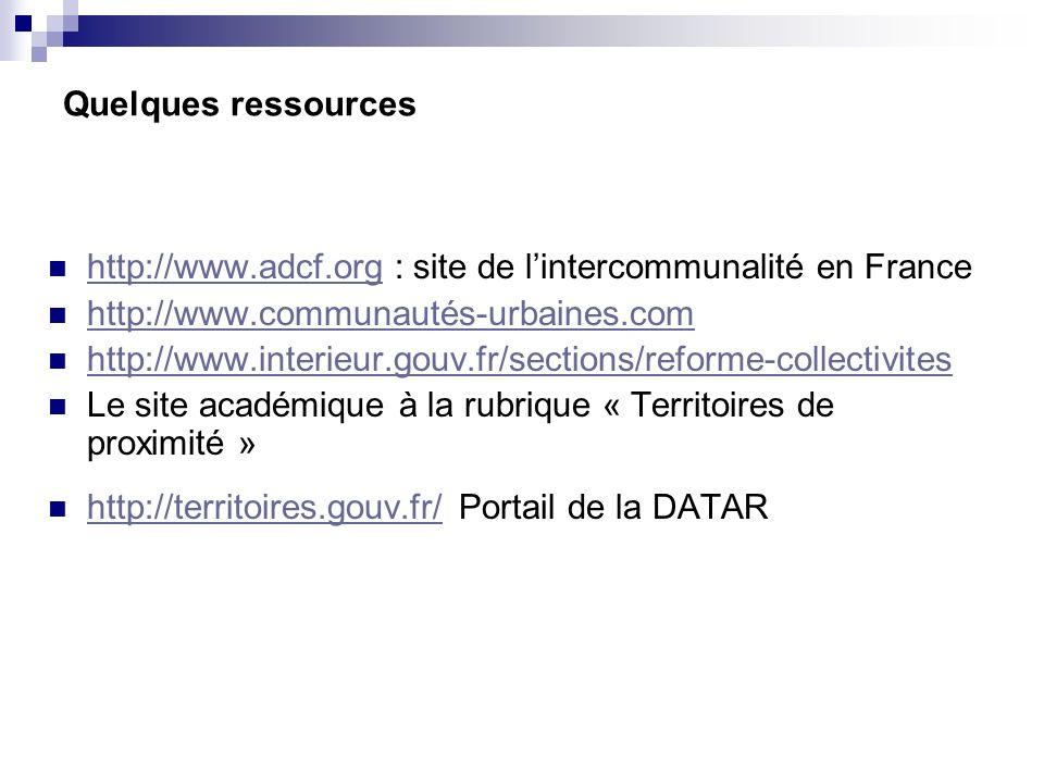 Quelques ressources http://www.adcf.org : site de lintercommunalité en France http://www.adcf.org http://www.communautés-urbaines.com http://www.inter