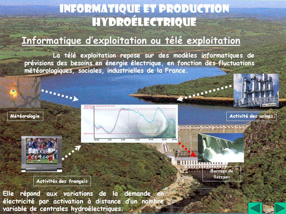 Informatique dexploitation ou télé exploitation La télé exploitation repose sur des modèles informatiques de prévisions des besoins en énergie électri