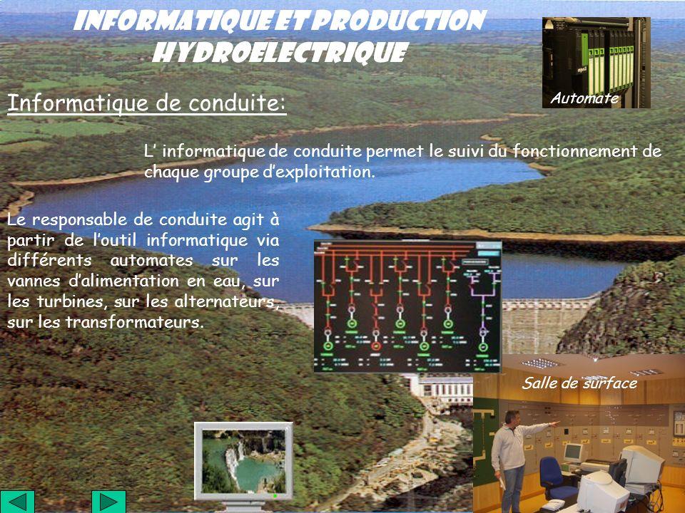 INFORMATIQUE ET PRODUCTION HYDROELECTRIQUE Informatique de conduite: L informatique de conduite permet le suivi du fonctionnement de chaque groupe dex