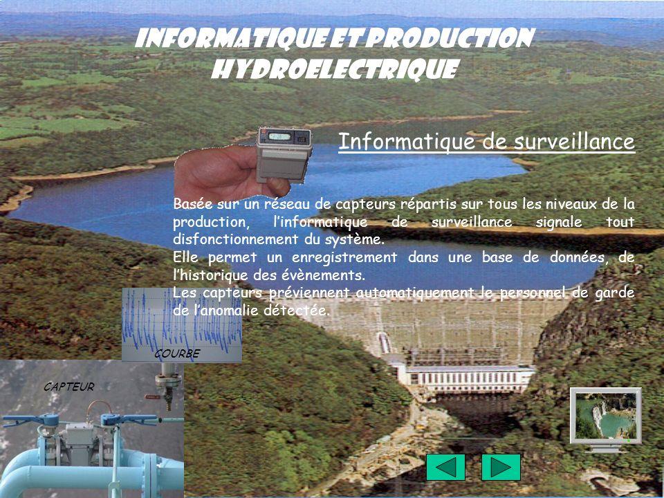 INFORMATIQUE ET PRODUCTION HYDROELECTRIQUE Informatique de surveillance Basée sur un réseau de capteurs répartis sur tous les niveaux de la production