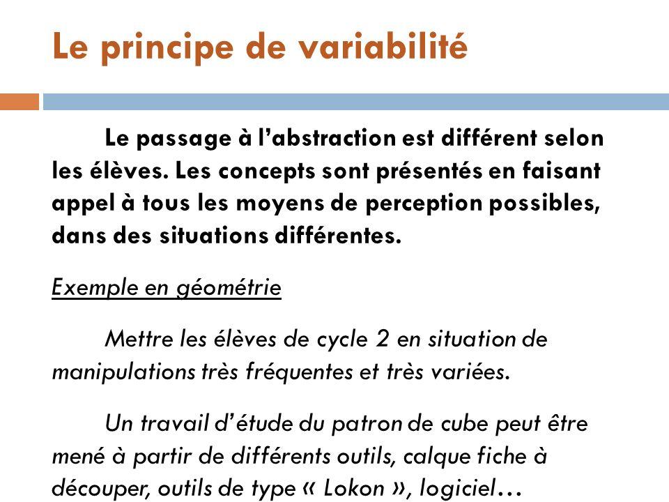 Le principe de variabilité Le passage à labstraction est différent selon les élèves. Les concepts sont présentés en faisant appel à tous les moyens de