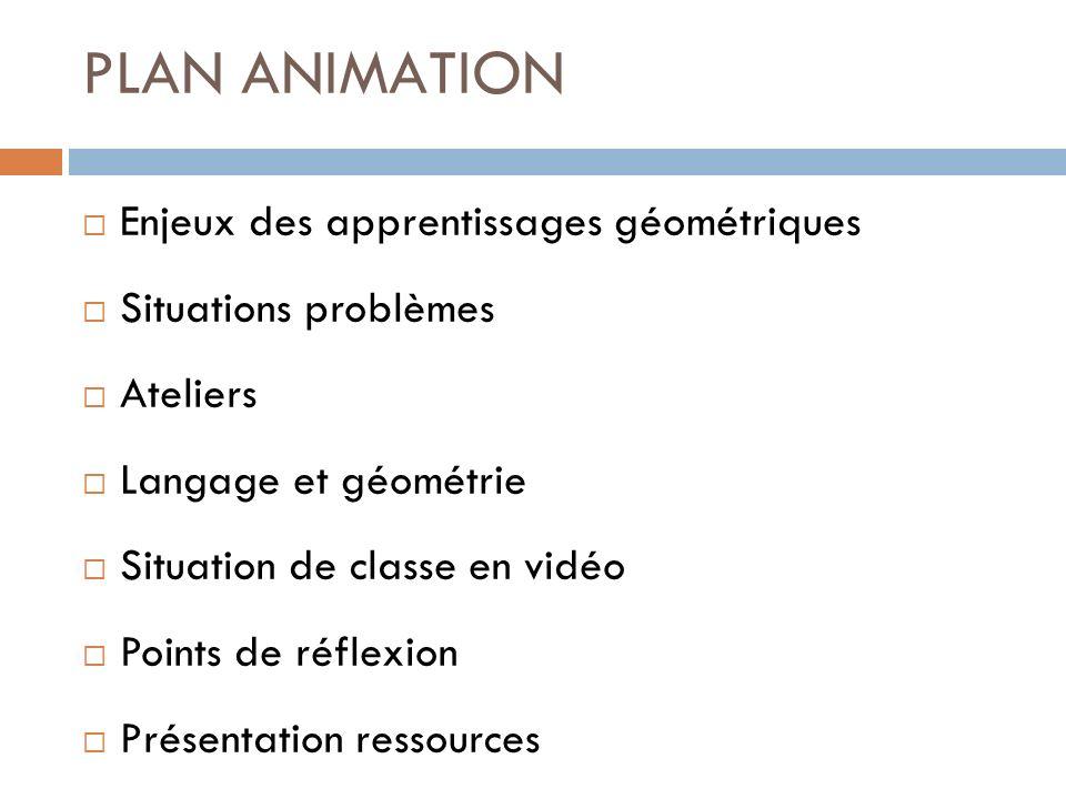 PLAN ANIMATION Enjeux des apprentissages géométriques Situations problèmes Ateliers Langage et géométrie Situation de classe en vidéo Points de réflex