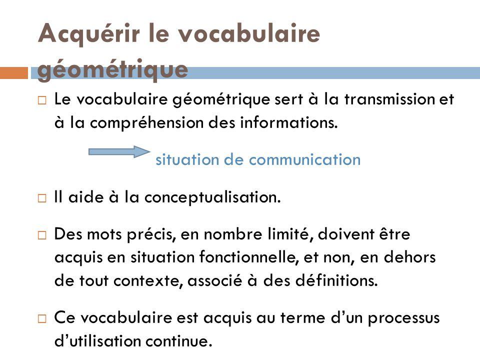 Acquérir le vocabulaire géométrique Le vocabulaire géométrique sert à la transmission et à la compréhension des informations. situation de communicati