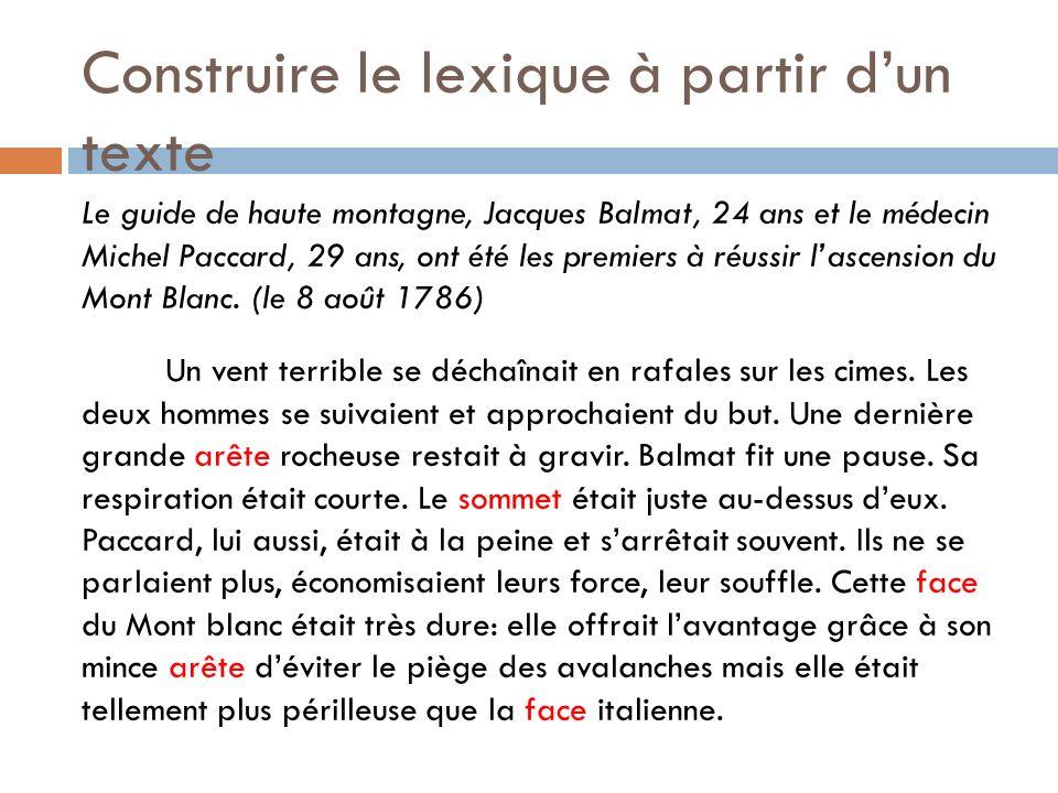 Construire le lexique à partir dun texte Le guide de haute montagne, Jacques Balmat, 24 ans et le médecin Michel Paccard, 29 ans, ont été les premiers