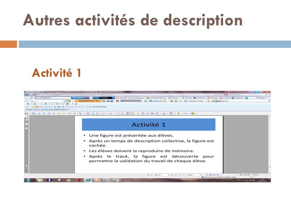 Autres activités de description Activité 1