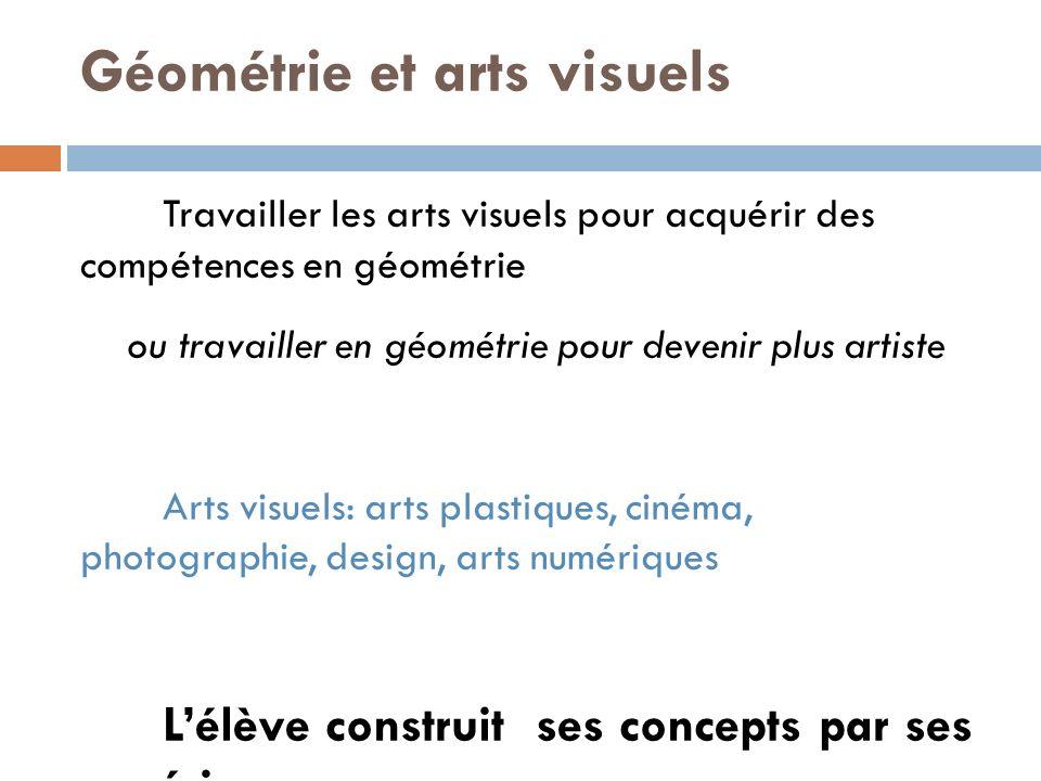 Géométrie et arts visuels Travailler les arts visuels pour acquérir des compétences en géométrie ou travailler en géométrie pour devenir plus artiste