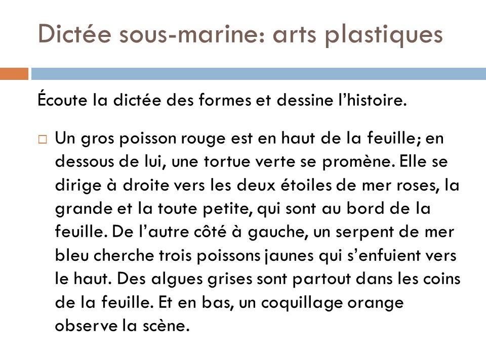 Dictée sous-marine: arts plastiques Écoute la dictée des formes et dessine lhistoire. Un gros poisson rouge est en haut de la feuille; en dessous de l