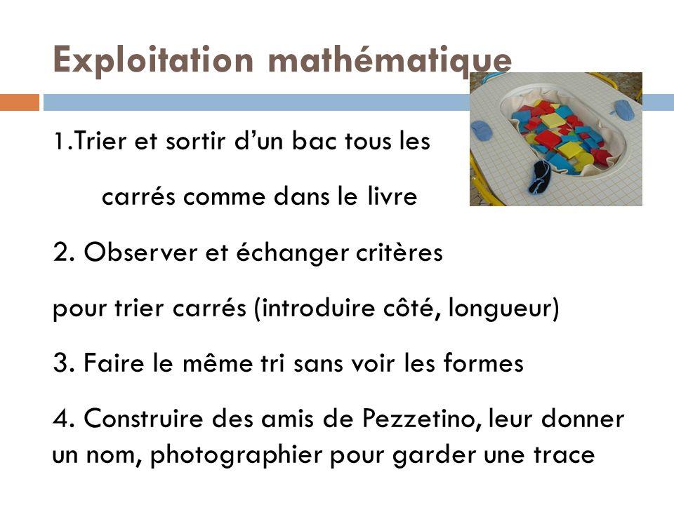 Exploitation mathématique 1. Trier et sortir dun bac tous les carrés comme dans le livre 2. Observer et échanger critères pour trier carrés (introduir