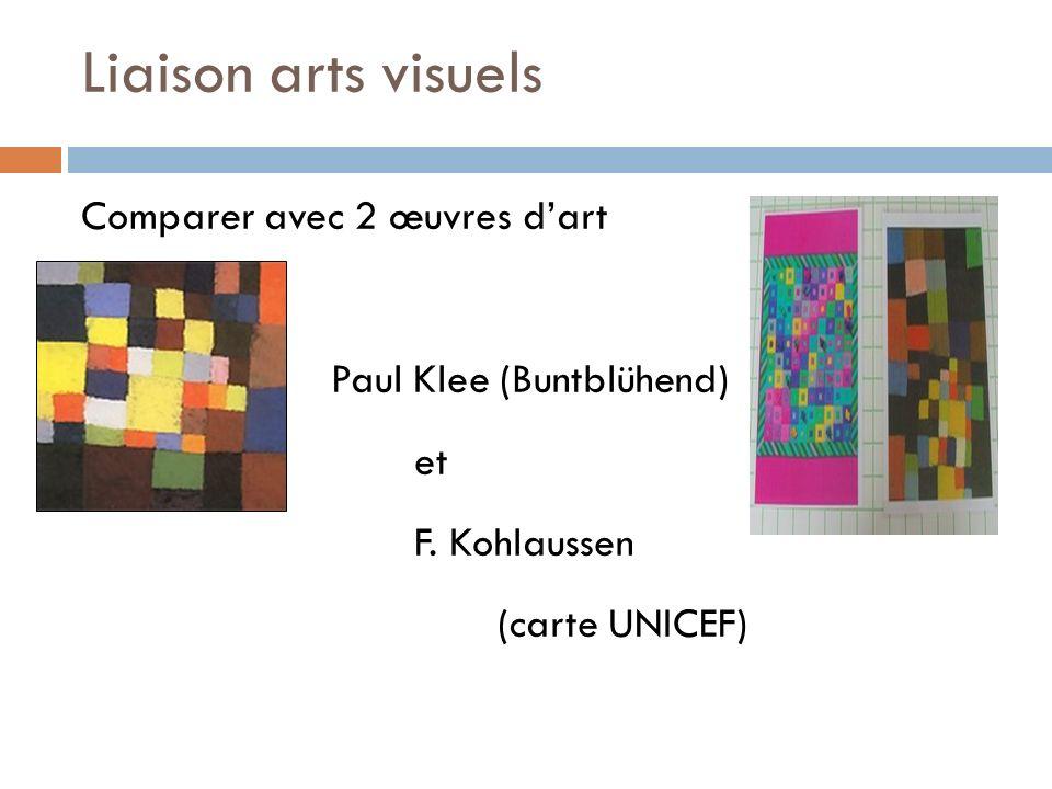 Liaison arts visuels Comparer avec 2 œuvres dart Paul Klee (Buntblühend) et F. Kohlaussen (carte UNICEF) Composer à partir des carrés, en utilisant la