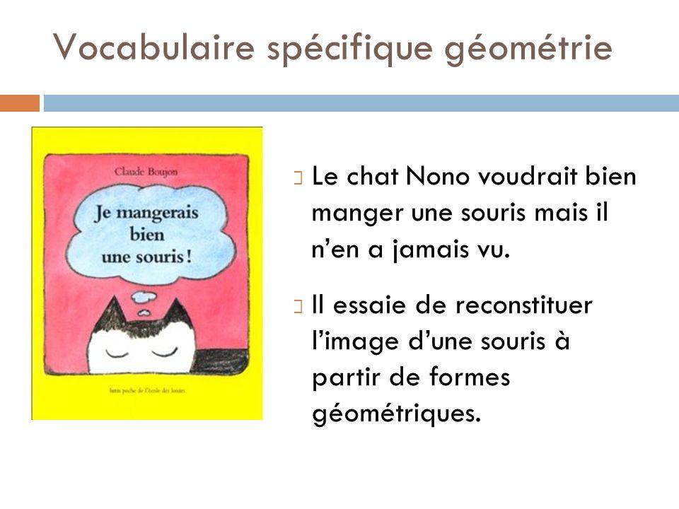 Vocabulaire spécifique géométrie Le chat Nono voudrait bien manger une souris mais il nen a jamais vu. Il essaie de reconstituer limage dune souris à