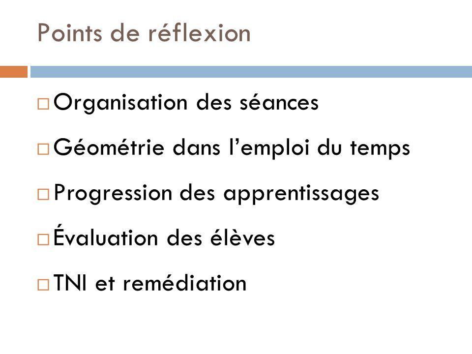 Points de réflexion Organisation des séances Géométrie dans lemploi du temps Progression des apprentissages Évaluation des élèves TNI et remédiation