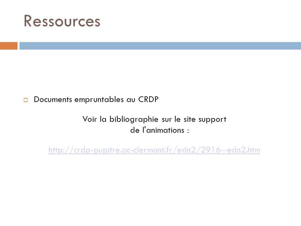 Ressources Documents empruntables au CRDP Voir la bibliographie sur le site support de l'animations : http://crdp-pupitre.ac-clermont.fr/edn2/2916--ed
