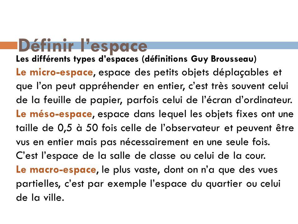 Définir lespace Les différents types despaces (définitions Guy Brousseau) Le micro-espace, espace des petits objets déplaçables et que lon peut appréh