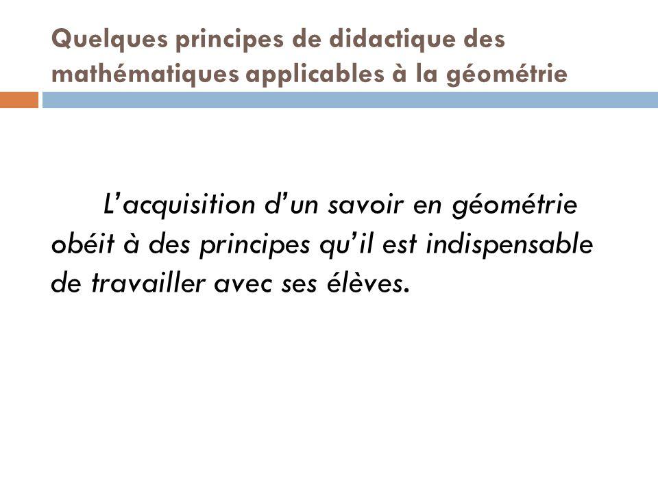 Quelques principes de didactique des mathématiques applicables à la géométrie Lacquisition dun savoir en géométrie obéit à des principes quil est indi