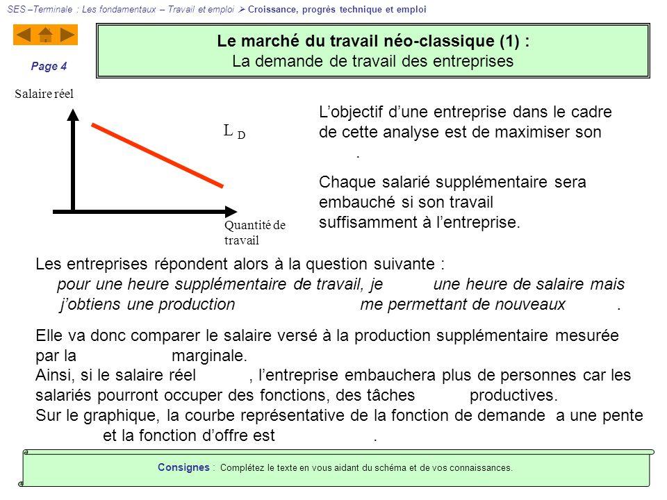 Le marché du travail néo-classique (1) : La demande de travail des entreprises SES –Terminale : Les fondamentaux – Travail et emploi Croissance, progr