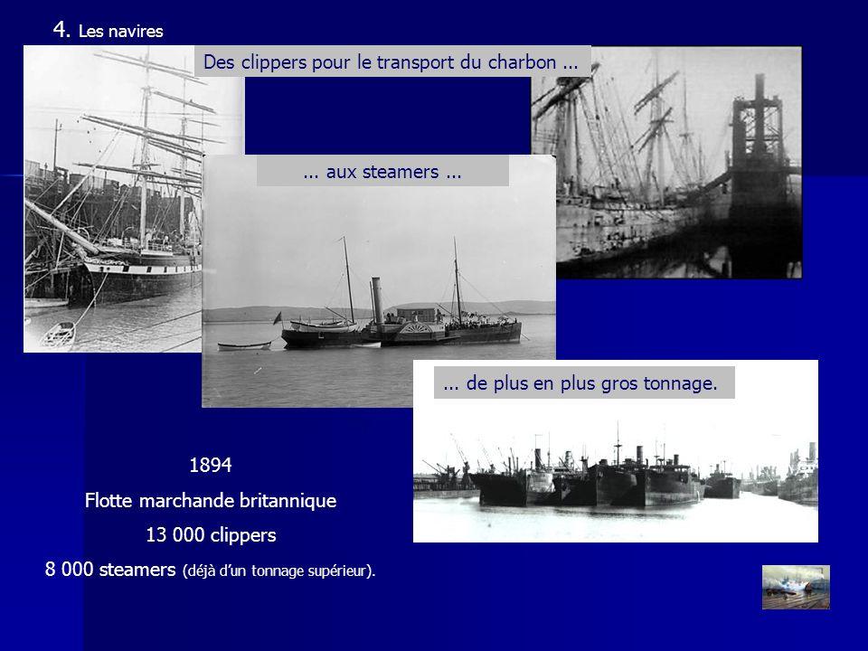 4. Les navires 1894 Flotte marchande britannique 13 000 clippers 8 000 steamers (déjà dun tonnage supérieur). Des clippers pour le transport du charbo