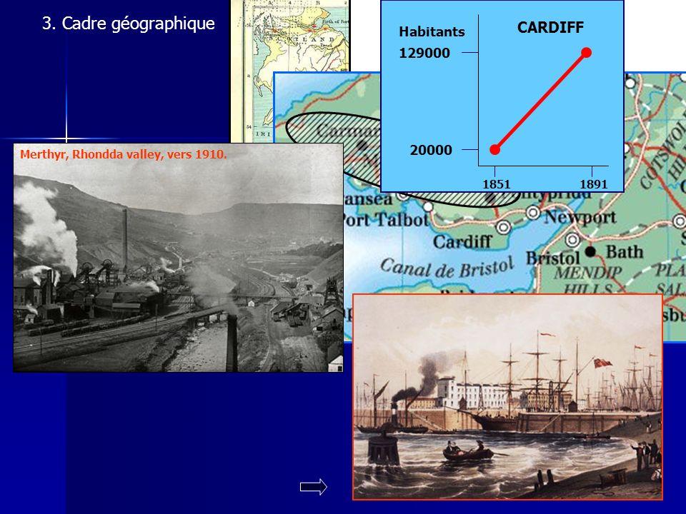 3. Cadre géographique Merthyr, Rhondda valley, vers 1910. 20000 129000 18511891 Habitants CARDIFF © C. Archon