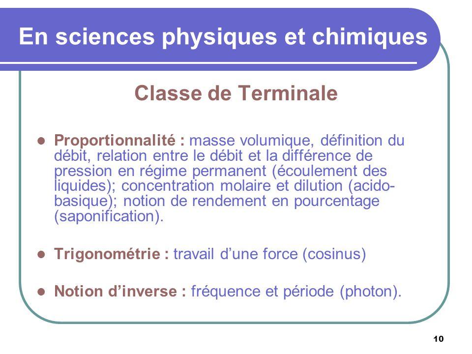 10 En sciences physiques et chimiques Classe de Terminale Proportionnalité : masse volumique, définition du débit, relation entre le débit et la diffé