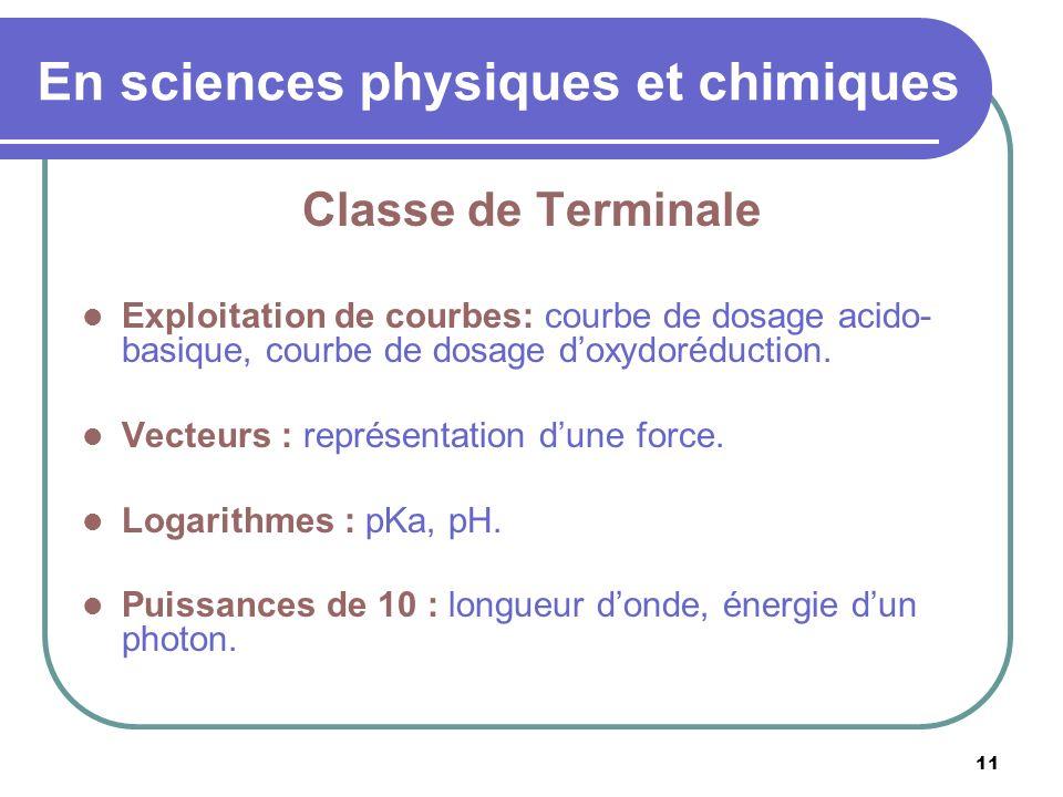 11 En sciences physiques et chimiques Classe de Terminale Exploitation de courbes: courbe de dosage acido- basique, courbe de dosage doxydoréduction.
