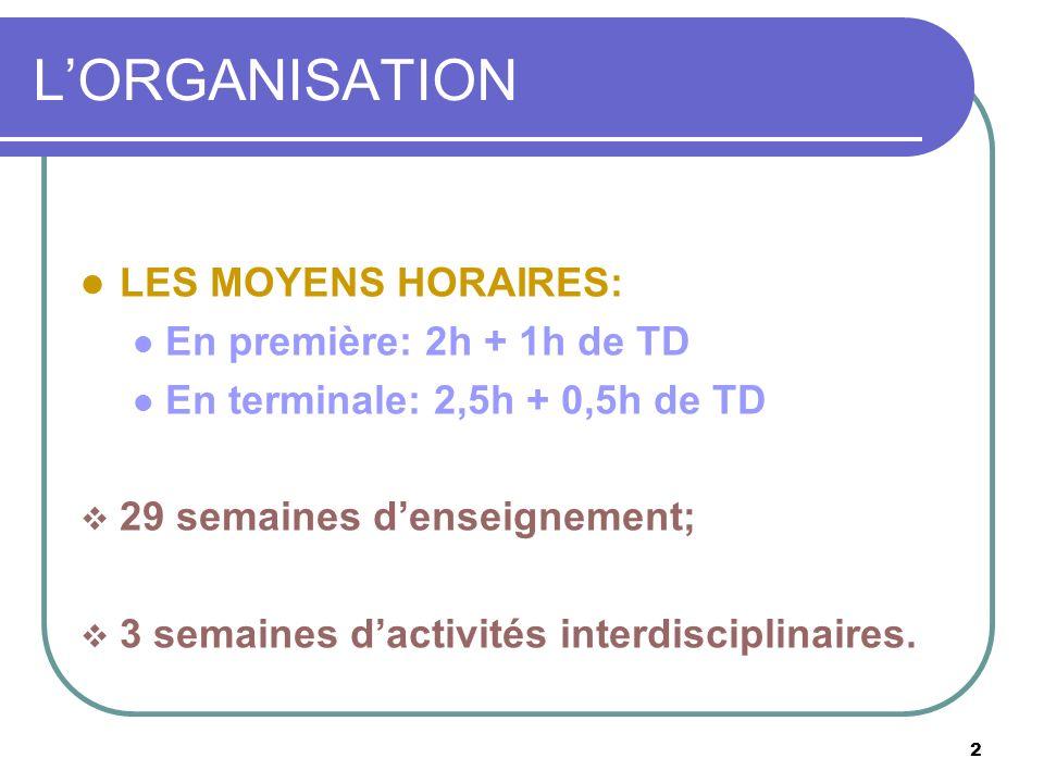2 LORGANISATION LES MOYENS HORAIRES: En première: 2h + 1h de TD En terminale: 2,5h + 0,5h de TD 29 semaines denseignement; 3 semaines dactivités inter