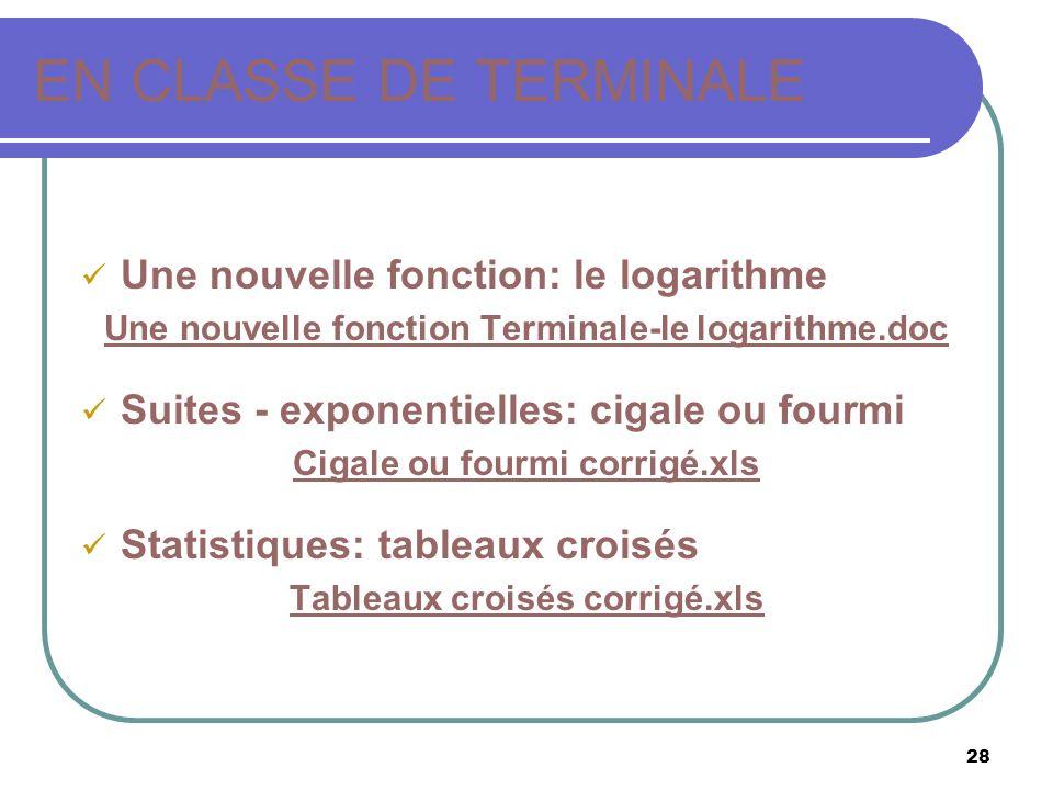 28 EN CLASSE DE TERMINALE Une nouvelle fonction: le logarithme Une nouvelle fonction Terminale-le logarithme.doc Suites - exponentielles: cigale ou fo