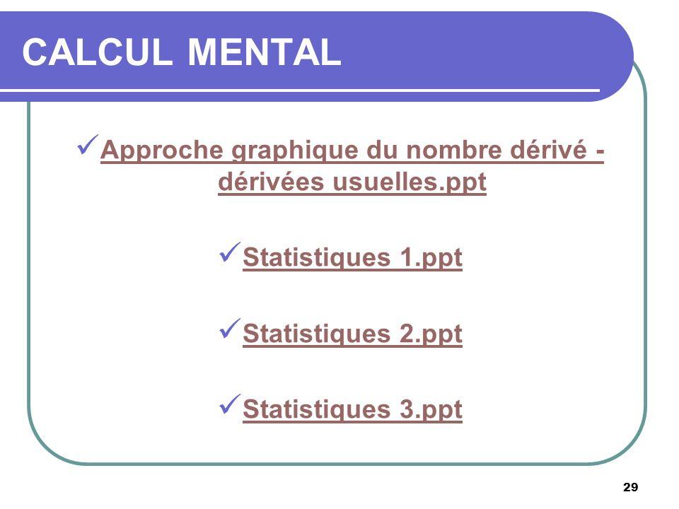 29 CALCUL MENTAL Approche graphique du nombre dérivé - dérivées usuelles.ppt Approche graphique du nombre dérivé - dérivées usuelles.ppt Statistiques