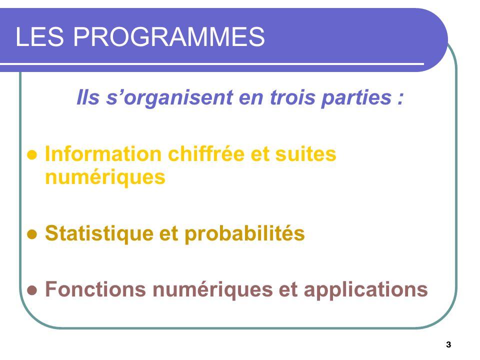 3 LES PROGRAMMES Ils sorganisent en trois parties : Information chiffrée et suites numériques Statistique et probabilités Fonctions numériques et appl