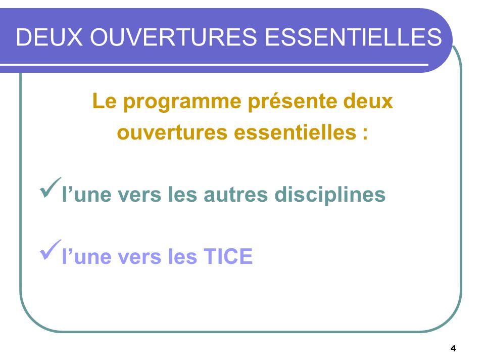 4 DEUX OUVERTURES ESSENTIELLES : Le programme présente deux ouvertures essentielles : lune vers les autres disciplines lune vers les TICE