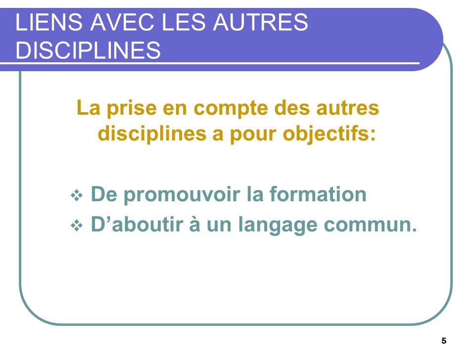 5 LIENS AVEC LES AUTRES DISCIPLINES La prise en compte des autres disciplines a pour objectifs: De promouvoir la formation Daboutir à un langage commu