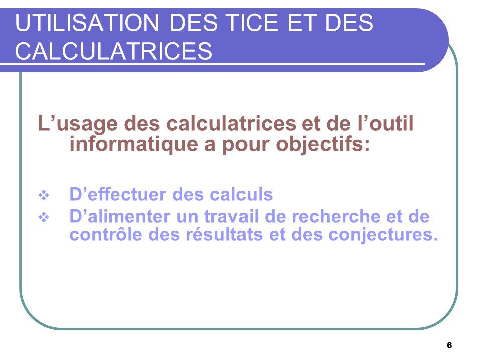 6 UTILISATION DES TICE ET DES CALCULATRICES Lusage des calculatrices et de loutil informatique a pour objectifs: Deffectuer des calculs Dalimenter un