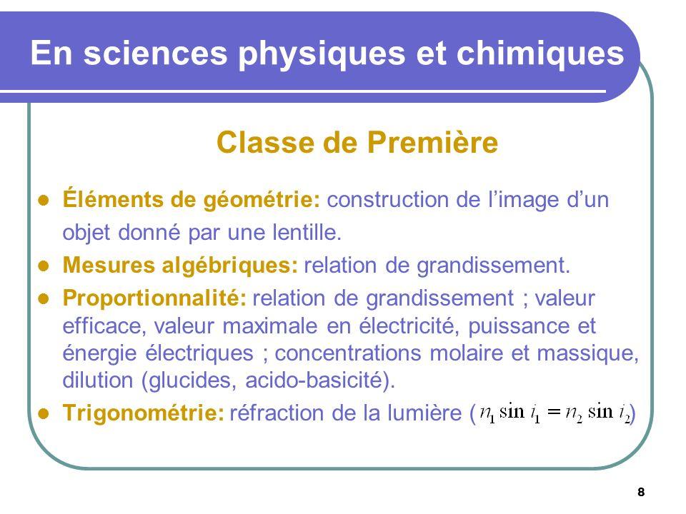 8 En sciences physiques et chimiques Classe de Première Éléments de géométrie: construction de limage dun objet donné par une lentille. Mesures algébr