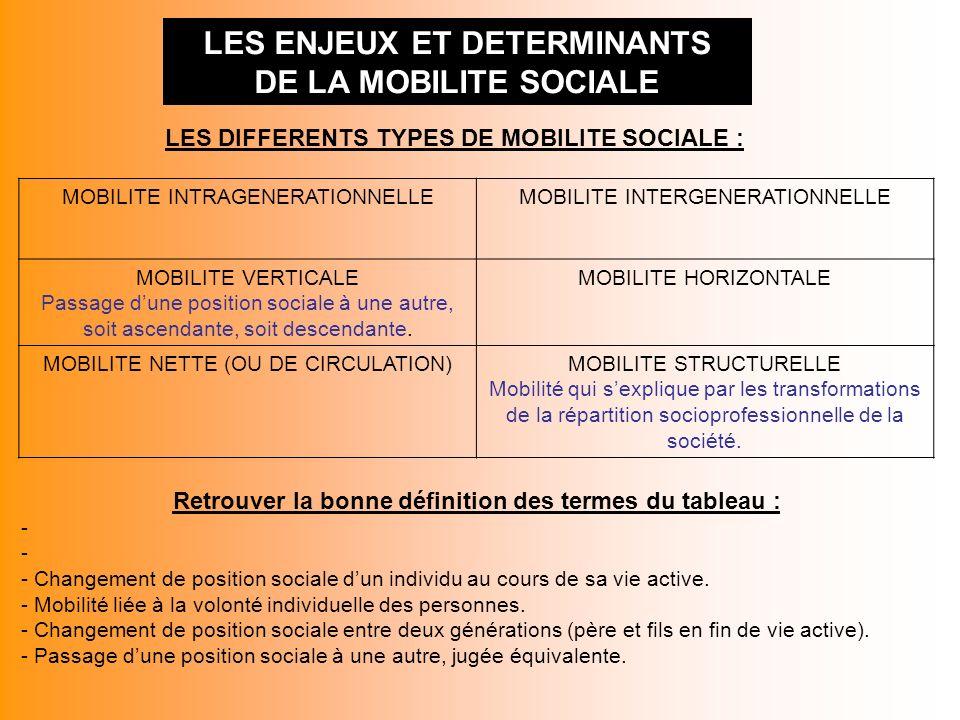 LES ENJEUX ET DETERMINANTS DE LA MOBILITE SOCIALE LES DIFFERENTS TYPES DE MOBILITE SOCIALE : MOBILITE INTRAGENERATIONNELLEMOBILITE INTERGENERATIONNELL
