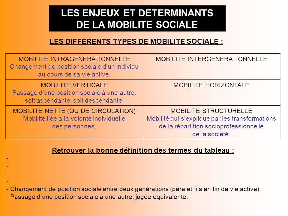 LES ENJEUX ET DETERMINANTS DE LA MOBILITE SOCIALE LES DIFFERENTS TYPES DE MOBILITE SOCIALE : MOBILITE INTRAGENERATIONNELLE Changement de position sociale dun individu au cours de sa vie active.