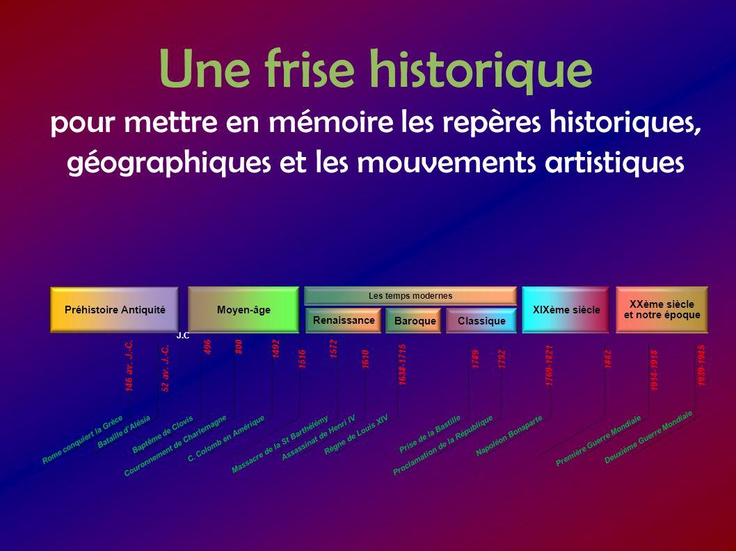 Une frise historique pour mettre en mémoire les repères historiques, géographiques et les mouvements artistiques Préhistoire Antiquité Moyen-âge Renai
