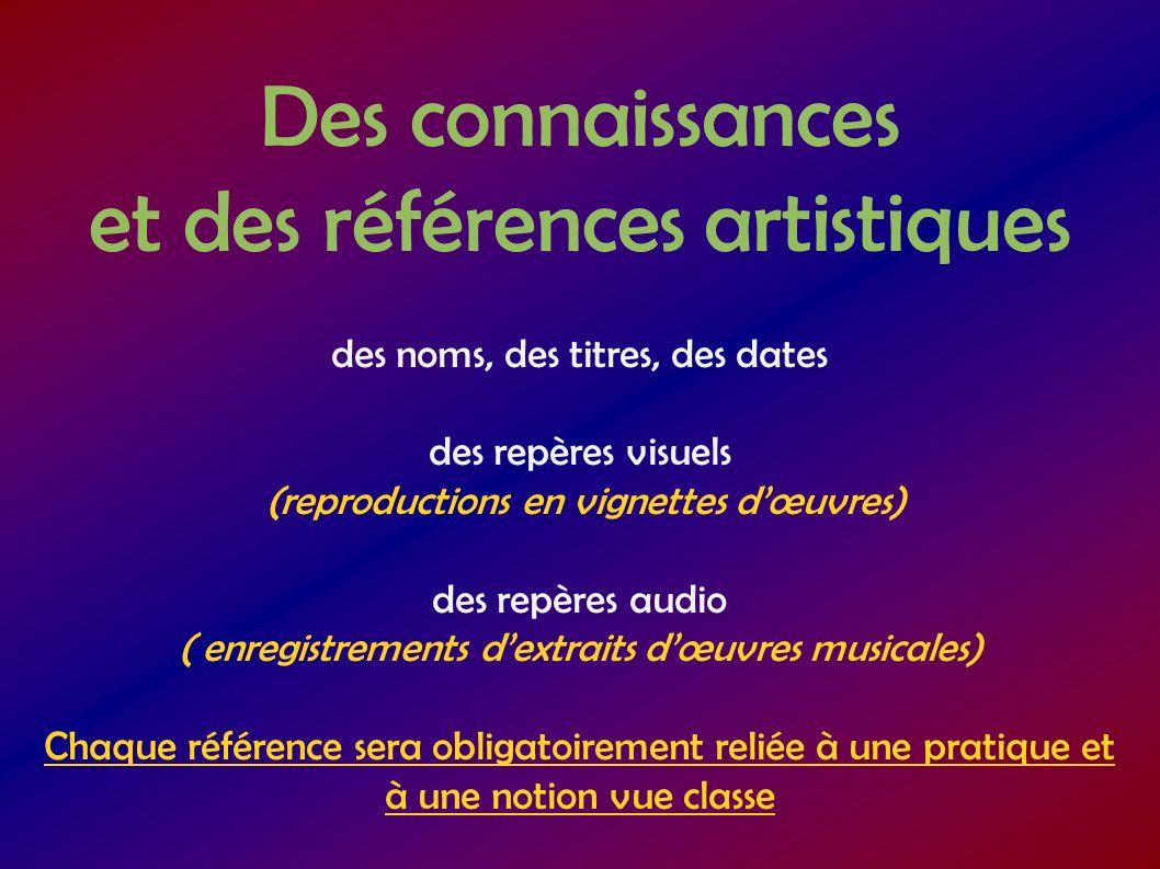 Des connaissances et des références artistiques des noms, des titres, des dates des repères visuels (reproductions en vignettes dœuvres) des repères a