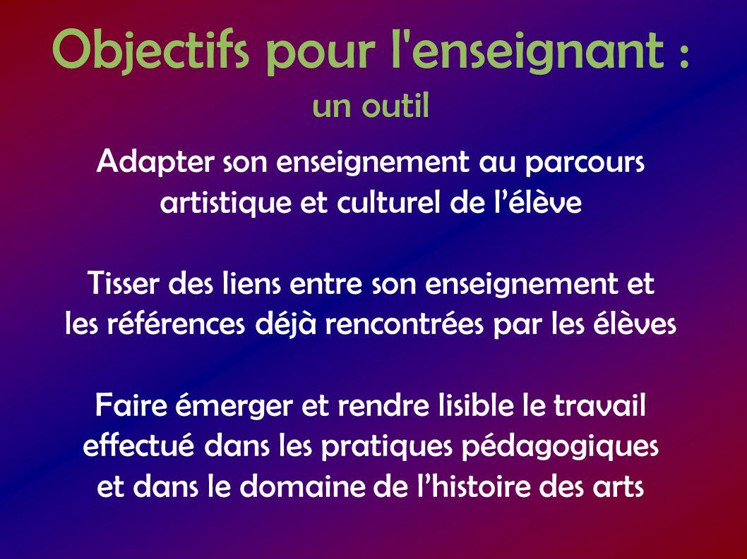 Objectifs pour l équipe enseignante : un outil Construire le parcours artistique et culturel de lélève de manière cohérente Couvrir tous les arts Jalonner les différentes époques