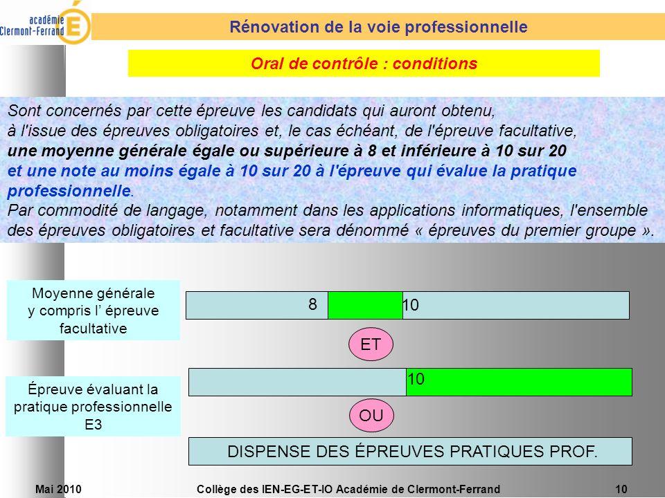 Mai 2010Collège des IEN-EG-ET-IO Académie de Clermont-Ferrand10 Sont concernés par cette épreuve les candidats qui auront obtenu, à l'issue des épreuv