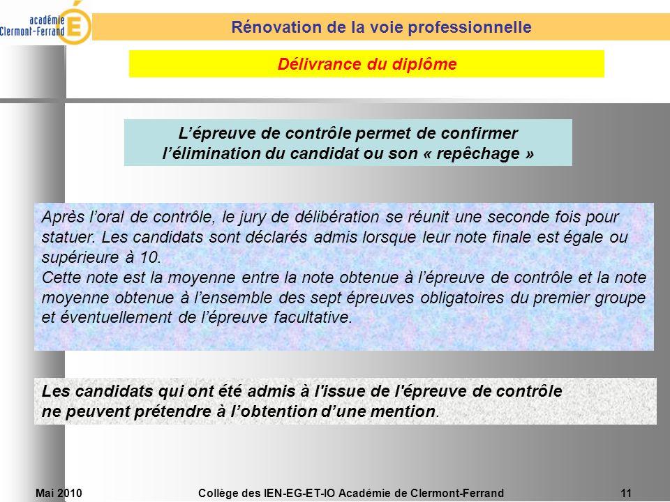 Mai 2010Collège des IEN-EG-ET-IO Académie de Clermont-Ferrand11 Après loral de contrôle, le jury de délibération se réunit une seconde fois pour statu