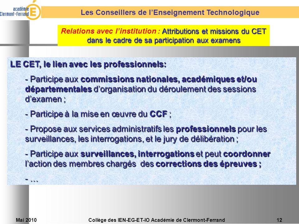 Mai 2010Collège des IEN-EG-ET-IO Académie de Clermont-Ferrand12 LE CET, le lien avec les professionnels: - Participe aux commissions nationales, acadé