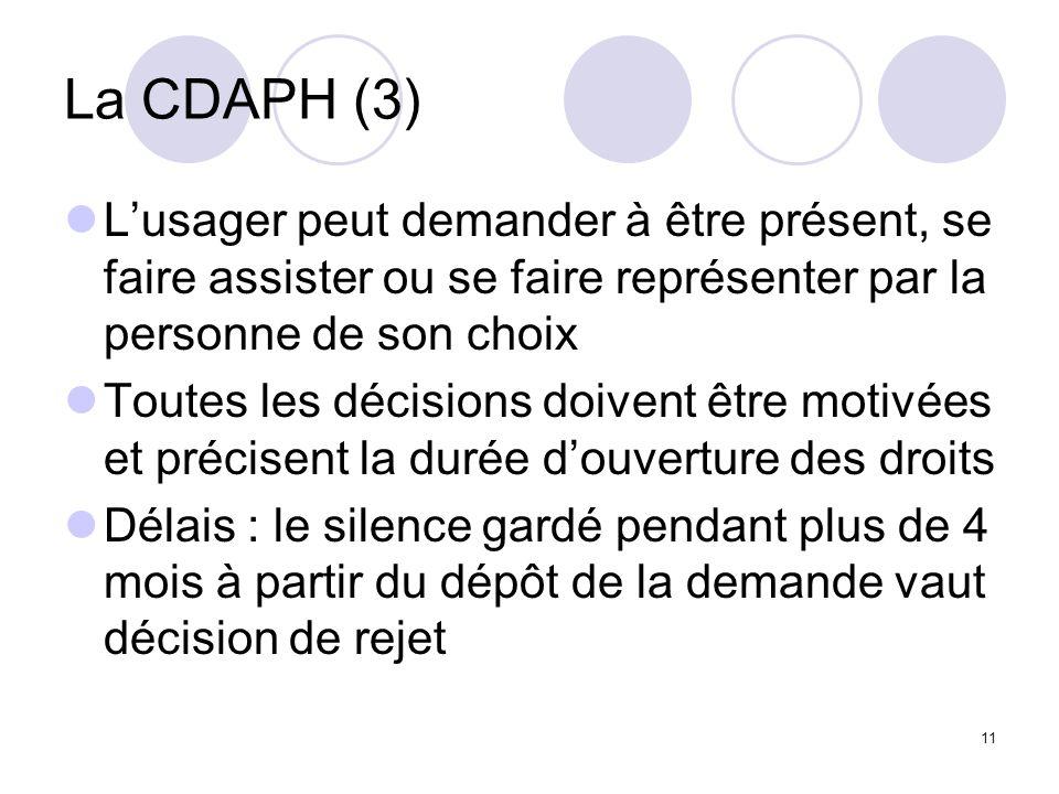 11 La CDAPH (3) Lusager peut demander à être présent, se faire assister ou se faire représenter par la personne de son choix Toutes les décisions doiv