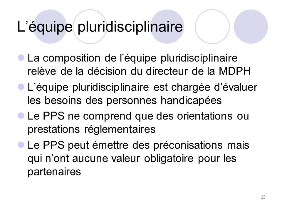 22 Léquipe pluridisciplinaire La composition de léquipe pluridisciplinaire relève de la décision du directeur de la MDPH Léquipe pluridisciplinaire es