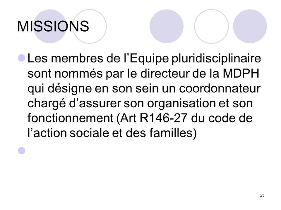 MISSIONS Les membres de lEquipe pluridisciplinaire sont nommés par le directeur de la MDPH qui désigne en son sein un coordonnateur chargé dassurer so